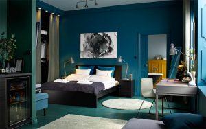 dormitorio azul con verde
