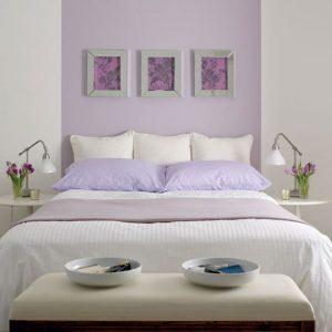 habitación color gris y lavanda