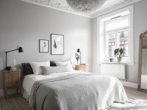 dormitorio color gris pálido