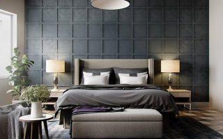 dormitorio con pared gris