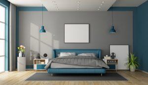 dormitorio gris con azul