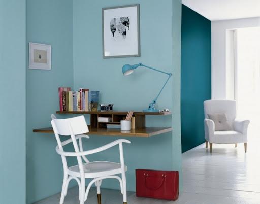 habitación color azul pastel