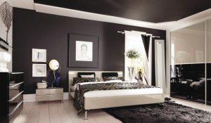 dormitorio con techo pintado de negro