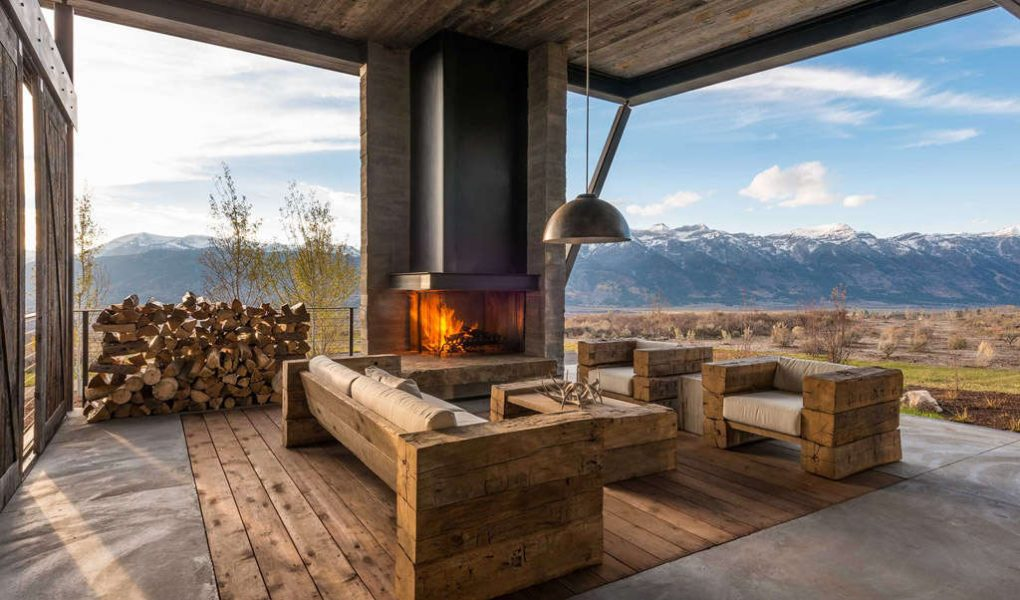 sala de estar estilo rústico moderno