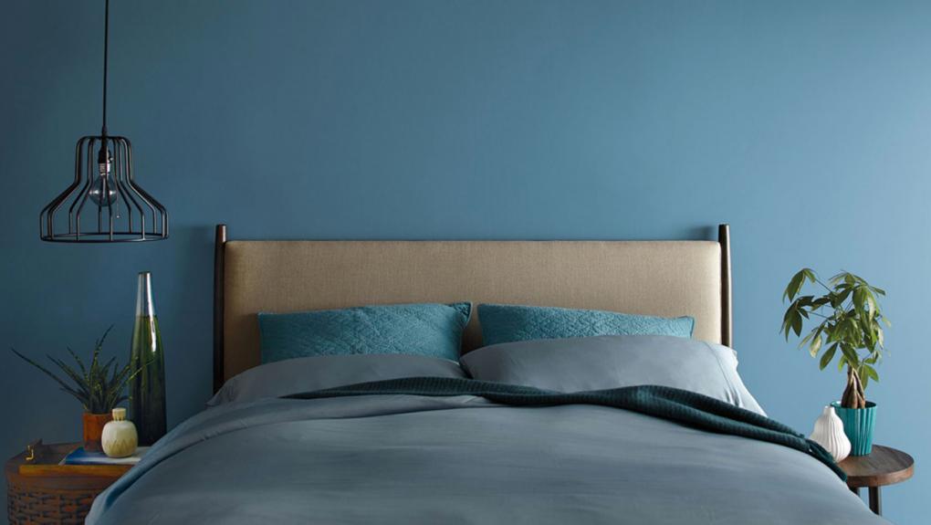 habitación color azul verdoso fuerte