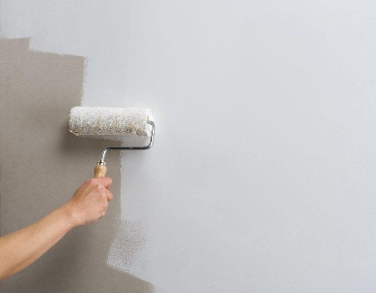 persona pintando pared con rodillo