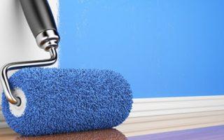 rodillo azul para pintar pared