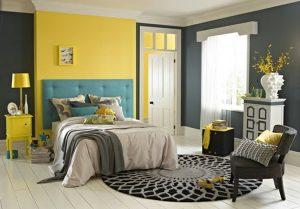 habitación amarilla con gris