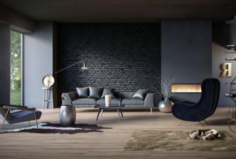 sala de estar oscura moderna